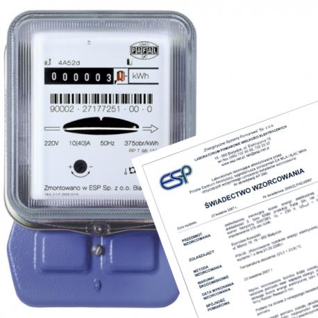 A52d 1 fazowy licznik energii + świadectwo